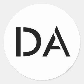 Weißer Logo-Aufkleber DA Runder Aufkleber