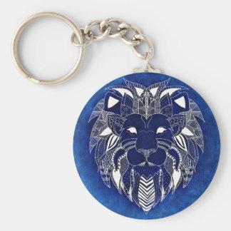 Weißer Löwe mit blauem Hintergrund UnisexKeychain Standard Runder Schlüsselanhänger