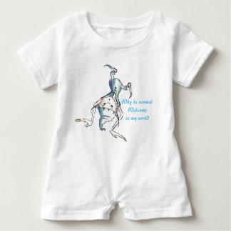Weißer lustiger doof Kobold-Baby-Spielanzug Baby Strampler