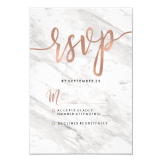 Weißer Marmor-u. Rosen-Goldmodernes Hochzeit UAWG Karte