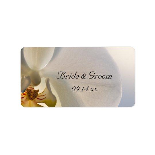 Weißer Orchideen-Eleganz-Gastgeschenk Adress Aufkleber