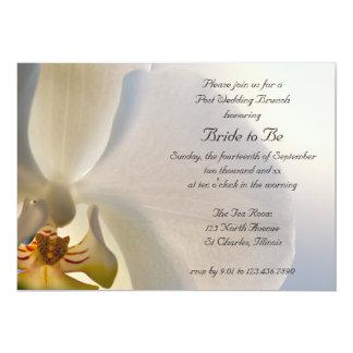 Weißer Orchideen-Eleganz-Posten-Hochzeits-Brunch 12,7 X 17,8 Cm Einladungskarte
