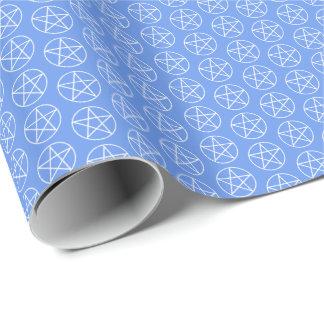 Weißer Pentagram auf Cornflower-Blau Geschenkpapier