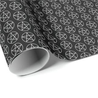 Weißer Pentagram auf Schwarzem Geschenkpapier