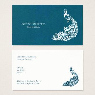 Weißer Pfau auf aquamarinem mutigem moderne Visitenkarte