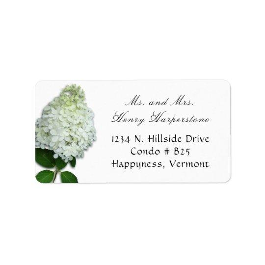 Weißer Rampenlichthydrangea-Blumenadressen-Etikett Adressaufkleber