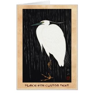 Weißer Reiher Ide Gakusui auf Regen ukiyo-e Karte