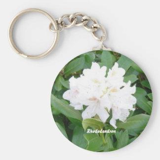 Weißer Rhododendron Standard Runder Schlüsselanhänger