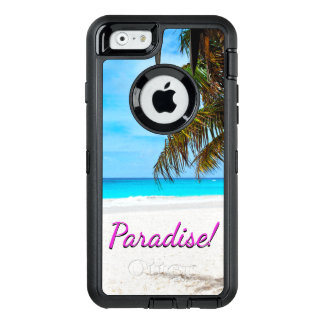 """Weißer Sandstrand, Palme, """"Paradies"""" Text OtterBox iPhone 6/6s Hülle"""