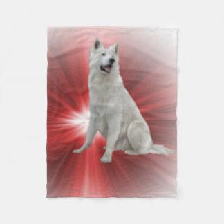 Weißer Schäferhund Fleecedecke
