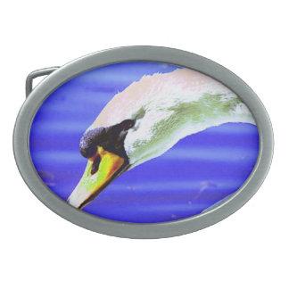 Weißer Schwan Ovale Gürtelschnallen