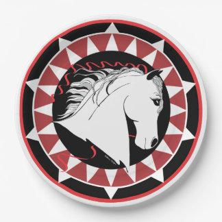 Weißer Stallions-Designer-Papier-Teller Pappteller 22,9 Cm