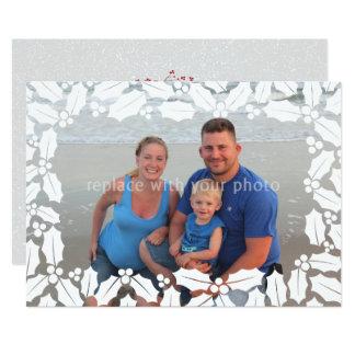 Weißer Stechpalmen-Blattüberlagerungs-Foto 12,7 X 17,8 Cm Einladungskarte