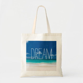 Weißer Strand, blauer Himmel und Traum Tragetasche
