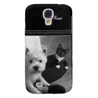 Weißer Terrier und Katze teilen die Liebe Galaxy S4 Hülle