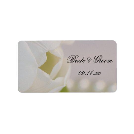 Weißer Tulpe-und Perlen-Frühlings-Gastgeschenk Adressetikett