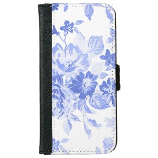 Weißer u. blauer BlumeniPhone 6/6s Geldbeutel Hülle Für Das iPhone 6/6s