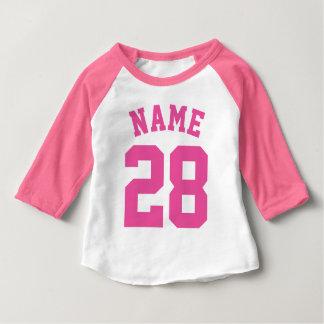 Weißer u. rosa Sport-Jersey-Entwurf des Baby-| Baby T-shirt