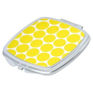 Weißer und gelber Tupfen-Muster-Spiegel Taschenspiegel