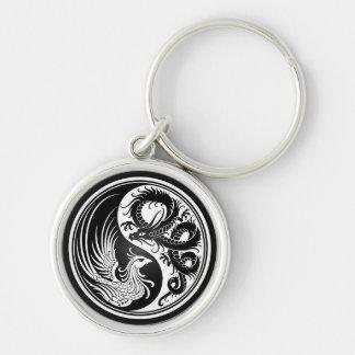 Weißer und schwarzer Drache Phoenix Yin Yang Schlüsselanhänger