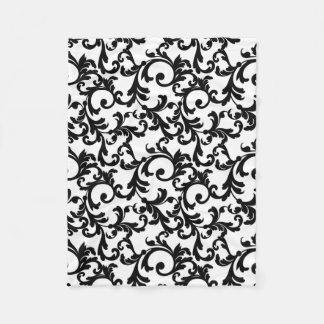 Weißer und schwarzer eleganter Damast-Druck Fleecedecke