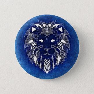 Weißer Unisexlöwe mit blauem Runder Button 5,1 Cm