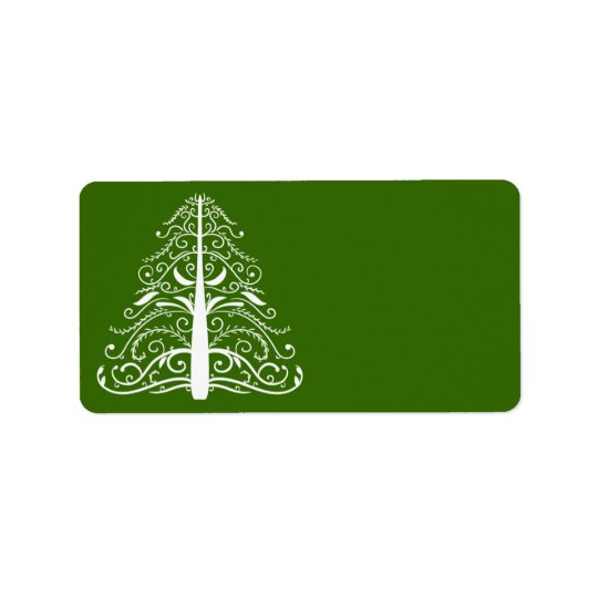 Weißer Weihnachtsbaum auf Grün Adressaufkleber