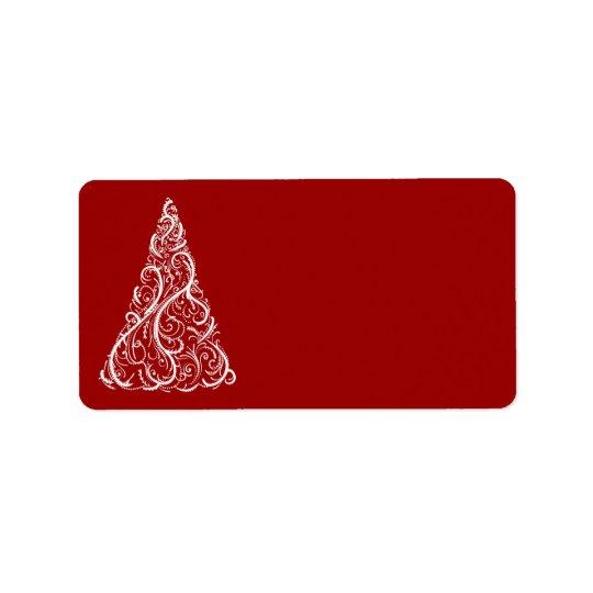 Weißer Weihnachtsbaum auf Rot Adress Aufkleber