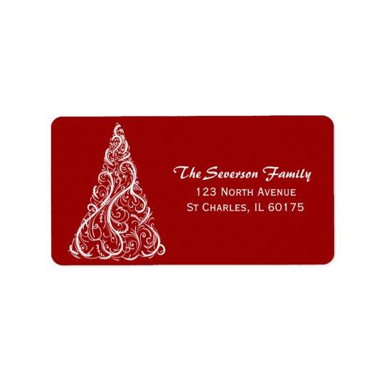 Weißer Weihnachtsbaum auf roter Rücksendeadresse Adressaufkleber