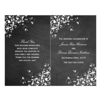 Weißer Wirbel auf Tafel-Hochzeit Bi-Falte Programm 21,6 X 27,9 Cm Flyer
