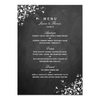 Weißer Wirbel auf Tafel-Hochzeits-Menü 11,4 X 15,9 Cm Einladungskarte
