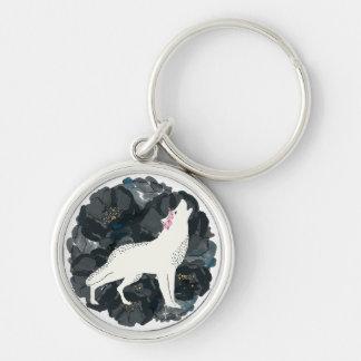 Weißer Wolf auf Kreis der schwarzen Rosen Keychain Silberfarbener Runder Schlüsselanhänger