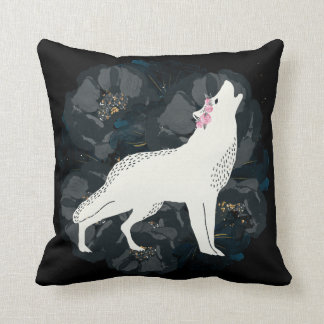 Weißer Wolf auf Kreis des schwarze Kissen