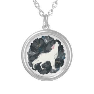 Weißer Wolf auf schwarzer Rosen-Kreis-Halskette Halskette Mit Rundem Anhänger
