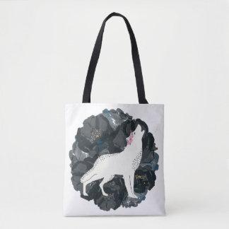 Weißer Wolf mit schwarzer Rosen-Taschen-Tasche Tasche