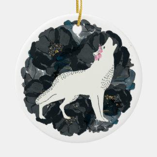 Weißer Wolf mit schwarzer Rosen-Verzierung Keramik Ornament
