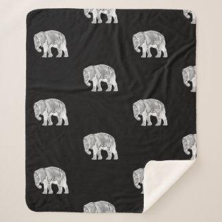 Weißer Zirkus-Elefant auf Schwarzem Sherpadecke