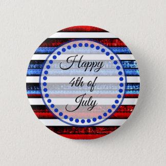 Weißes Blau Striped glückliches 4. von Juli-Knopf Runder Button 5,1 Cm