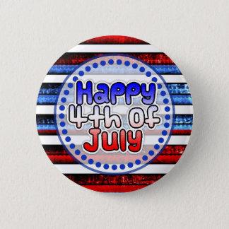 Weißes Blau Striped glückliches 4. von Juli-Knopf Runder Button 5,7 Cm