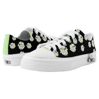 Weißes Blumen-Muster Cust. Zipz Schuhe