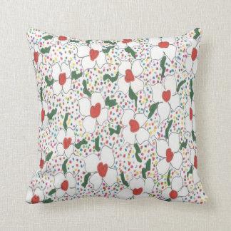 Weißes BlumenTupfen-Muster-Kissen Zierkissen
