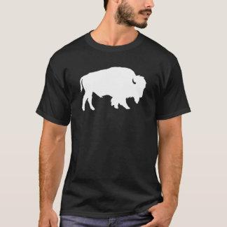 Weißes Büffel-Silhouette-Schatten-Tier T-Shirt