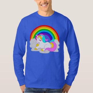 Weißes Einhorn auf der langen Hülse der T-Shirt