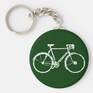 weißes Fahrrad Standard Runder Schlüsselanhänger
