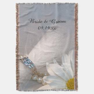 Weißes Gänseblümchen-Eleganz-Hochzeit Decke