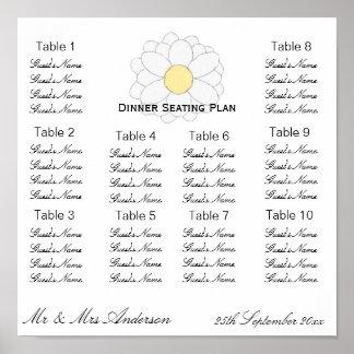 Weißes Gänseblümchen-Hochzeits-Abendessen-Sitzplat Poster