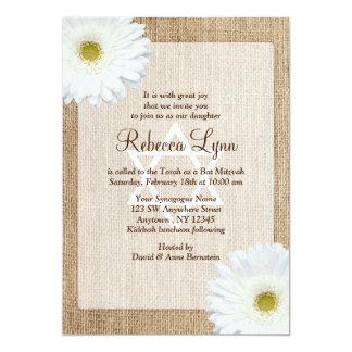 Weißes Gänseblümchen-rustikaler 12,7 X 17,8 Cm Einladungskarte