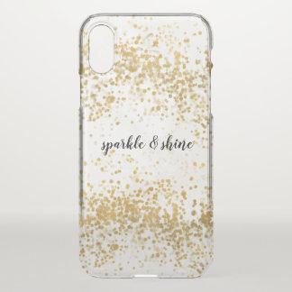 Weißes Goldconfetti-Schein iPhone X Hülle