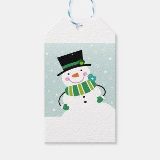 Weißes Grün des kleinen niedlichen Snowman Geschenkanhänger
