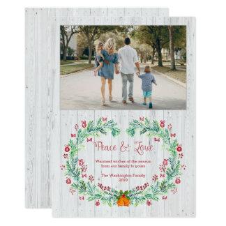 Weißes hölzernes Planke Weihnachtswatercolor 12,7 X 17,8 Cm Einladungskarte